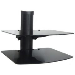 DVD Glass Stand 2 Shelf Fancy Rounded Edges