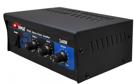 Stereo Power Amplifier - 2 x 40 Watt Power with RCA Inputs and Push Type Speaker Outputs
