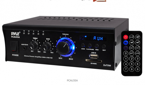 Mini 2x75 Watt Stereo Power Amplifier with USB/SD Card Readers, AUX, CD Inputs & LED Display