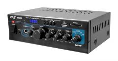 Stereo Power Amplifier - 2 x 120 Watt with Blue LED Display, USB/SD/MMC CARD, AUX, CD & Mic Inputs