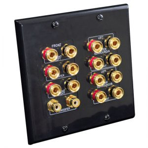 7.1 Home Theater Fourteen Post Binding/Banana Plug with Dual RCA Subwoofer Posts Wall Plate Black (14 Ports/Polarity for 7 Speakers)