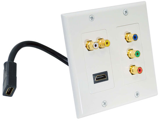 Dual HDMI + 2 RCA + 3 RCA Wall plate W/Back Pigtail Plug For Easy Installation