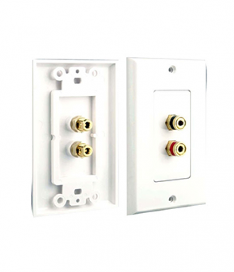 Dual Post Binding/Banana Plug Wall Plate White (2 Posts/Polarity For 1 Speaker)