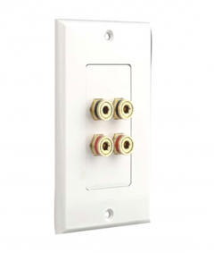 Four Post Binding/Banana Plug Wall Plate White (4 Posts/Polarity For 2 Speakers)