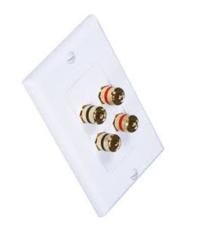 2 Speaker Wall Plate (2 Red & 2 Black Banana Sockets)