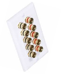 5 Speaker Wall Plate (5 Red & 5 Black Banana Sockets)