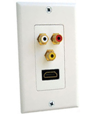 HDMI 3 RCA RGB Component Wall Plate Outlet LCD DVD HDTV
