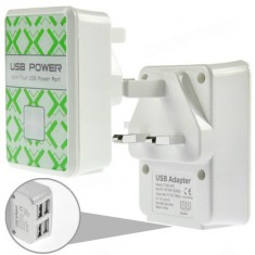 4  Ports USB Hub UK Plug Wall Charger Power Adapter For iPhone iPod