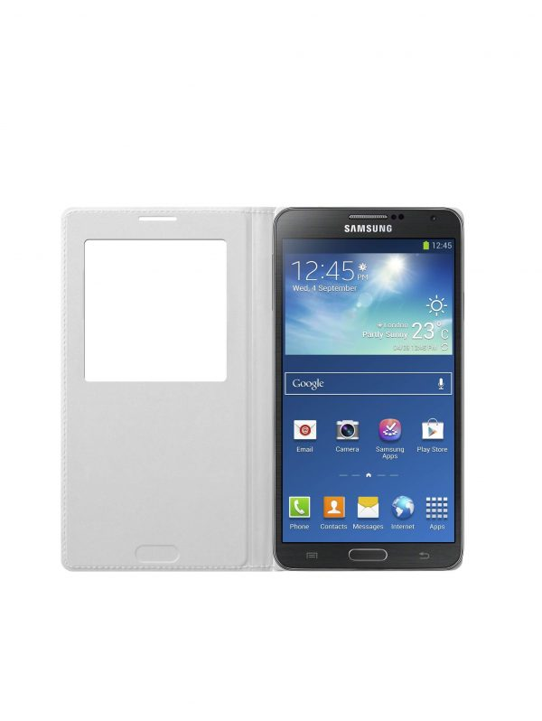 White Samsung Galaxy Note 3 S-View Flip Cover Case.