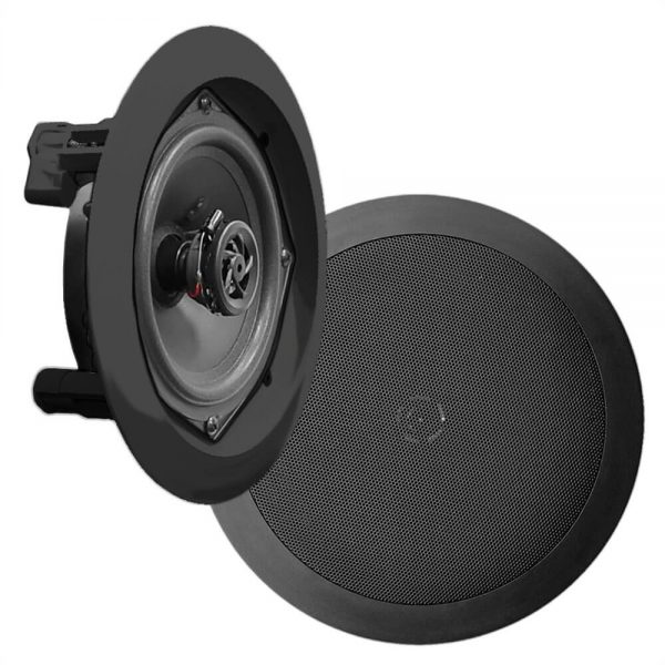 In-Wall / In-Ceiling Dual 6.5-inch Speaker System, 2-Way, Flush Mount, Black (Pair)