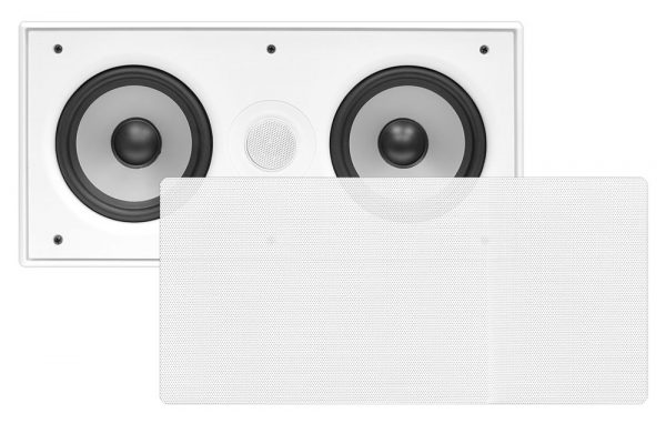 In-Wall / In-Ceiling Dual 5.25'' Center Channel Sound System, 2-Way, Flush Mount, White, Single Unit