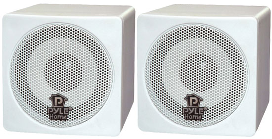 "Pyle PCB3WT 3"" 100 Watt Mini Cube Speaker Pair White"