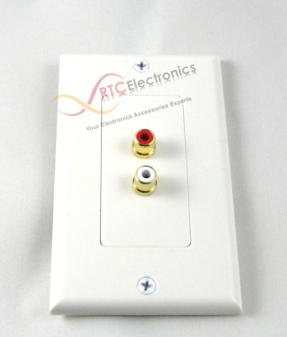 2 Rca Stereo Two Pieces Insert Wall Plate Rgb Coupler