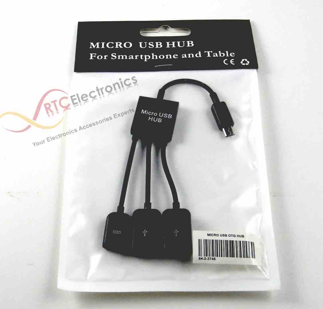 Micro Usb Host Otg 3 Port Hub Adapter Cable For Samsung Rtc Kabel Microusb To